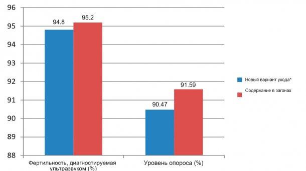 Рисунок 5. Фертильность, диагностируемая ультразвуком, и уровень опороса с декабря 2015 по июнь 2016. (*свиноматки в клетках от отъема до 28 дня беременности).