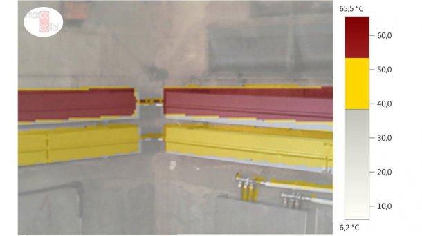 Рисунок 10. Наложение слоев (температурный + Рисунок 10. Наложение слоев (температурный + цифровой) для анализа работы конвекционной системы отопления в секции отъема (зима). Температура верхней линии (красный цвет) между 53,5 и 65,50С. Температура нижней линии (желтый цвет) – между 38,5 и 53,40С.