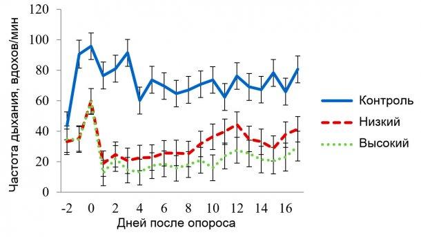 Рисунок 4. Значения наименьших квадратов частоты дыхания (ЧД) для секции с условиями умеренного теплового стресса. Целевая температура при нем составляла 320С в период 08:00-16:00 и 270С – в остальное время. На ЧД воздействовали (Р<0,001): применение панели (ОхП), температура воздуха в секции (Секц.), время суток (Время), порядковый день лактации, а также комбинации факторов ОхП х Секц., ОхП х Время, Секц. х Время.