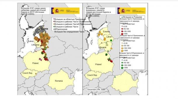 Карта вспышек, зарегистрированных в Эстонии, Латвии, Литве, Польше, Чехии и Румынии в 2017г. (Источник:RASVE-ADNS)