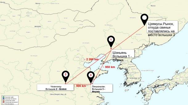 АЧС в Китае на карте