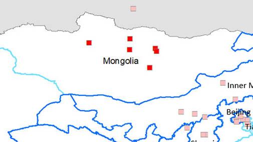 <p>Затронутые болезнью провинции: Булган, Орхон, Туве и Дунгдовь, а также район Баянголь в Улан-Баторе.</p>