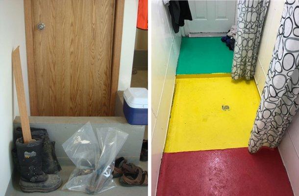 Слева: деление на зоны внутри фермы. Невысокая стенка напоминает работникам, что это место обязательной смены обуви на пути от входа на ферму («грязная») до душевой. Фото любезно предоставлено д-ром Тимом Снайдером (Tim Snider). Справа: пример зонирования в душевой. Красный = «грязная» зона; желтый =промежуточная зона; зеленый = «чистая» зона. Фото любезно предоставлено Майком Луйксом (Mike Luyks), Касло Бэйем (Kaslo Bay), PIC Boar Stud, Canada.