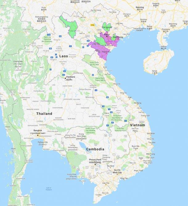 Провинции, затронутые АЧС (новые провинции показаны зеленым цветом).
