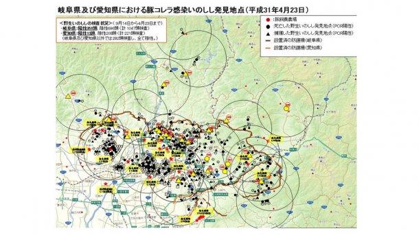 Карта показывает общее количество КЧС-положительных диких кабанов (найденных мертвыми или отловленных) и пораженные болезнью фермы – по состоянию на 23 апреля 2019 г.