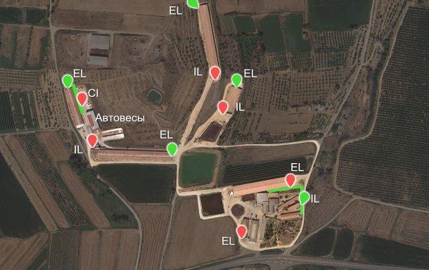 Изображение 6. Построенные, согласно рекомендациям, новые местаотгрузки (зеленые точки) и две новые платформы (так же, зеленым). IL- рампа для внутренних (Internal load-outs)перемещений; EL- рампа для внешних (External load-outs) перемещений