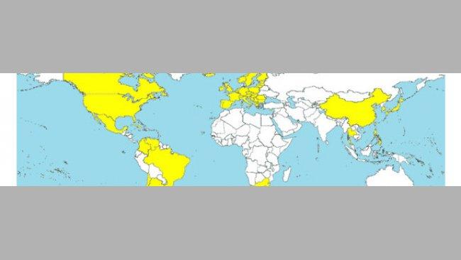 Страны, в которых диагностировали ЦВС2 (отмечены желтым цветом).